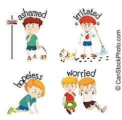 wörter, adjective, kind, gefuehle, ihr, ausdrücken