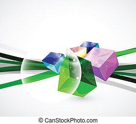 würfel, glas, abstrakt, vektor, hintergrund
