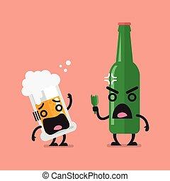 Würzige Bierflasche mit Glas Biercharakter