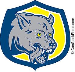 Wütend Wolf wilder Hundekopf Schild Retro.