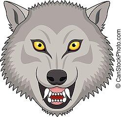 Wütende Wolfskopf-Tattoo.