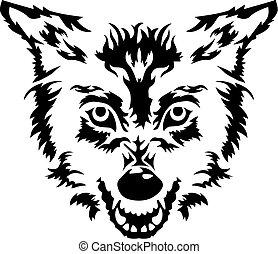 Wütender Wolfskopf.
