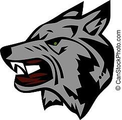 Wütender Wolfskopf. Schönes Wolfs-Tattoo. Wildwolf-Logo-Aktien.
