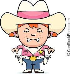 Wütendes kleines Cowgirl.