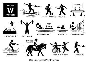 w, sport, spiele, alphabet, heiligenbilder, pictogram., vektor