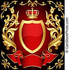Waffenschild mit Krone und Gold(en) Schmuck und Klebeband