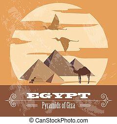 Wahrzeichen Ägyptens. Retro-Stil