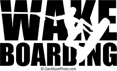 wakeboarding, silhouette, freisteller, wort