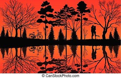 wald, bicycles, maenner, water., schöne , natur, reflektiert, atmosphäre, stehen, vektor, mitte, warm, illustrationen, geparkt, unter, frauen, ihr, bäume.