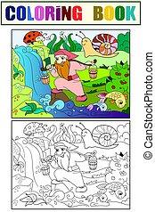 wald, färbung, flüßchen, childrens, auf, zwerg, wasser, magisches, pflückend, color.