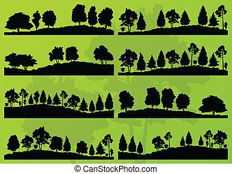 Waldbäume schilhouettes Landschaftsvektor