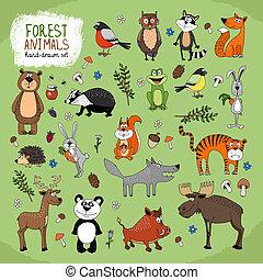 Waldtiere handgekleidete Illustrationen.