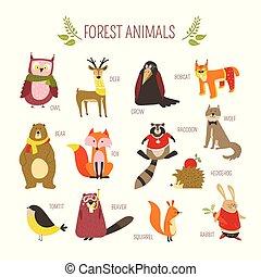 Waldtiere vektorten Zeichentrickfiguren