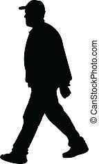 Walking Man Silhouette Vektor.