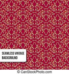 wallpaper., pattern., seamless, blumen-, gold, verzierung, rotes , damast, weinlese, hintergrund, vektor, barock