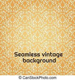 wallpaper., pattern., seamless, blumen-, weißes, gold, verzierung, damast, weinlese, hintergrund, vektor, barock