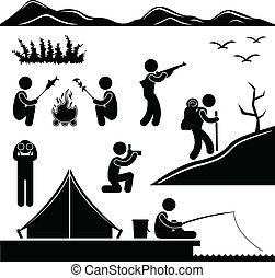 wandern, lager, dschungel, camping, trecken