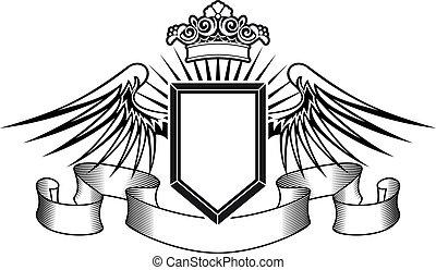 wappen, krone, schutzschirm, engelsflã¼gel
