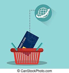 Warenkorb mit Kreditkarte