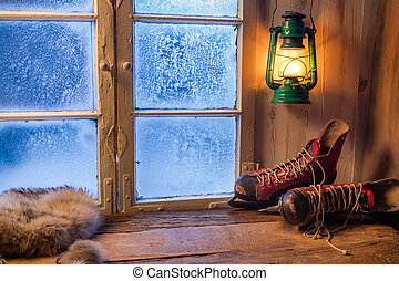 Warme Unterkunft im Winter Frosttag.