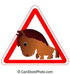 Warnzeichen mit einem lustigen Pferd