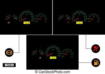 waschbrettbauch, fuel., armaturenbrett, indicators:, airbag, auto