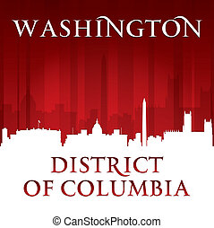 Washington DC City Skyline Silhouette roter Hintergrund