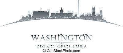 Washington DC City Skyline Silhouette weißer Hintergrund
