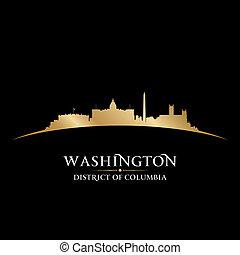 Washington DC City Skyline Skyhouette, schwarzer Hintergrund