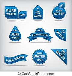 wasser, etiketten, rein