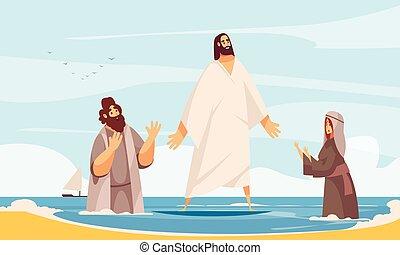 wasser, jesus, gehen, zusammensetzung