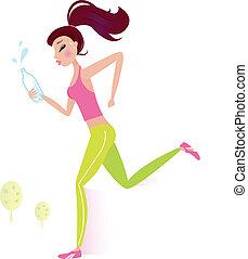 wasser, oder, frau, jogging, flasche, gesunde, rennender