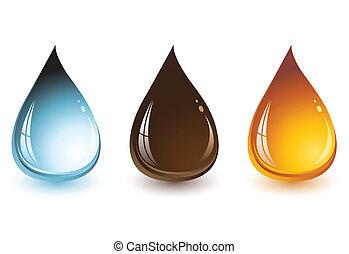Wasser, Schokolade und Honig Tropfen