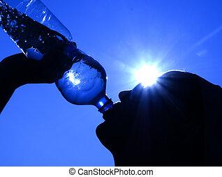 wasser, sonne, trinken, frau