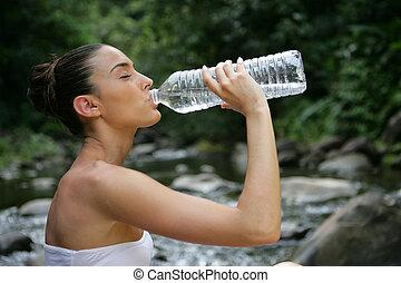 wasser, trinken, frau
