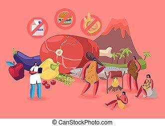 wasser, vektor, concept., öle, wohnung, ernährungswissenschaftler, diät, paleo, gehende menschen, produkte, ungefähr, höhle, meeresfrüchte, niveaus, fruits., doktor, abbildung, essende, gemuese, gesunde, getrennt, fette, fleisch, karikatur