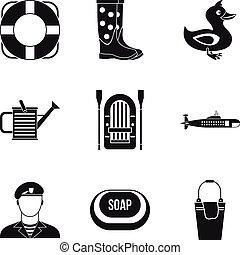 Wasseraktivität Icons gesetzt, einfache Stil