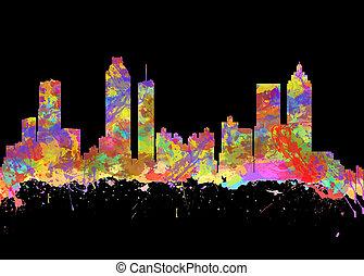 Wasserfarben-Kunstdruck der Skyline von atlanta georgia USA.