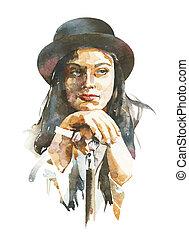 Wasserfarben-Porträt von Frauen mit Hut