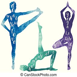 Wasserfarbene Silhouetten von Frauen, die Yoga oder Pilates-Übungen machen.