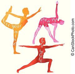 Wasserfarbene Silhouetten von Frauen, die Yoga oder Pilates-Übungen machen. Yoga Motivation