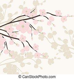 Wasserfarbener Hintergrund mit blühenden Apfelblumen