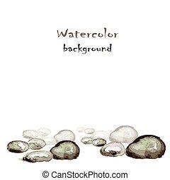 Wasserfarbener Hintergrund mit Steinen auf weiß.