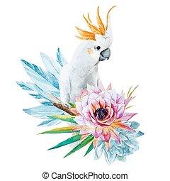 Wasserfarbener Papagei mit Blumen.
