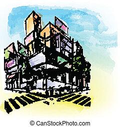 Wasserfarbenes Gebäude