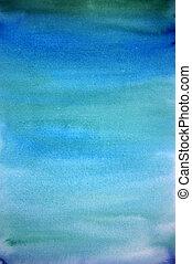 Wasserfarbenes Licht, blaue Hand, gemalte Kunstgeschichte