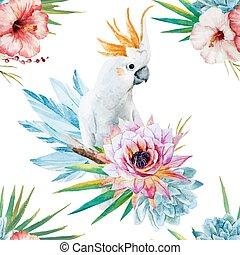 Wasserfarbenmuster mit Papageien und Blumen.