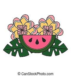 Wassermelone hinterlässt Blumen tropischen Sommer.