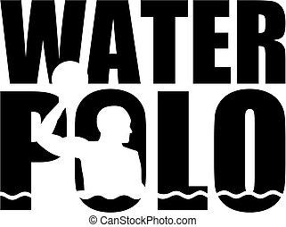 Wasserpolo-Wort mit Silhouettenschnitt.
