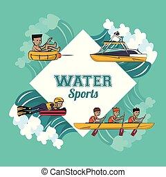 Wassersport-Cartoon.